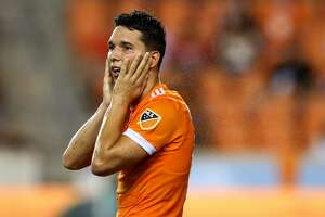 Houston Dynamo midfielder Tomas Martinez (10) reacts after nearly scoring against the Minnesota United during the second half of an MLS game at BBVA Compass Stadium Saturday, July 7, 2018, in Houston. The Dynamo won 3-0. ( Godofredo A. Vasquez / Houston Chronicle )