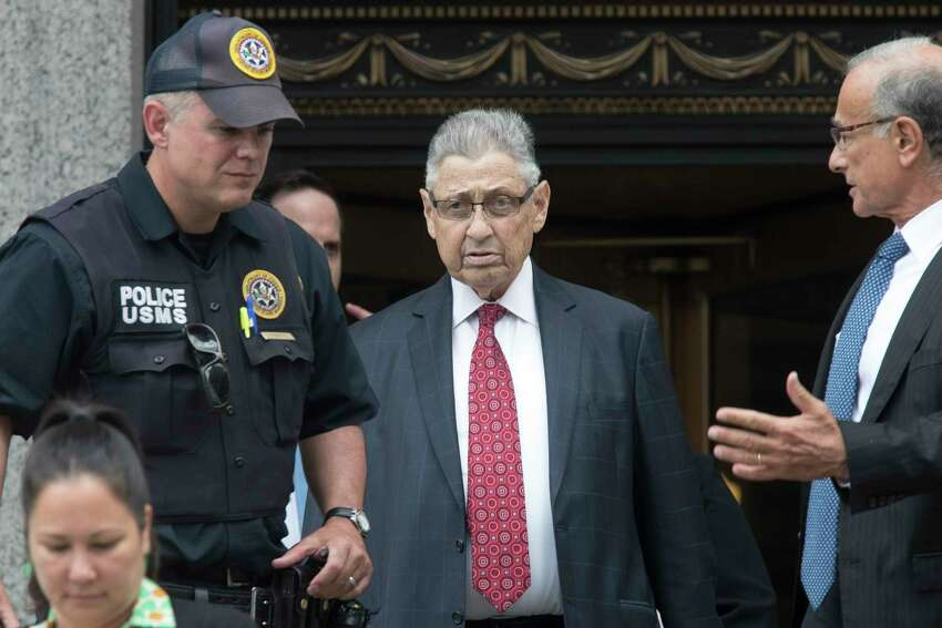Former New York Assembly Speaker Sheldon Silver, enter, leaves federal court in New York after his sentencing, Friday, July 27, 2018. Silver, a former New York Assembly speaker who brokered legislative deals for two decades before criminal charges abruptly ended his career, was sentenced Friday to seven years in prison by a judge who said political corruption in the state
