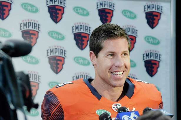 Quarterback, Tommy Grady talks to reporters during media day for the Albany Empire, a new Arena Football League team, on Monday, April 9, 2018, at the Times Union Center, in Albany, N.Y. (Paul Buckowski/Times Union)