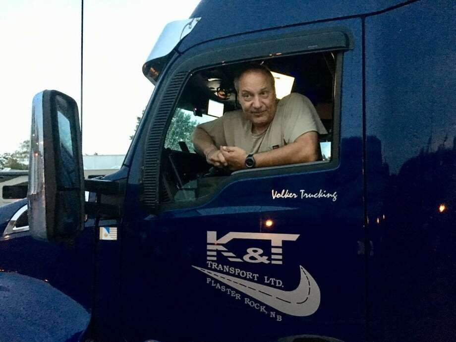 Volker Fieguth, an independent trucker from Canada, laments the new truck-only tolls in Rhode Island and said he would take a huge hit if the same thing happened in Connecticut. Photo: Dan Haar / Hearst Connecticut Media