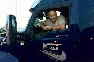 Volker Fieguth, an independent trucker from Canada, laments the new truck-only tolls in Rhode Island and said he would take a huge hit if the same thing happened in Connecticut.