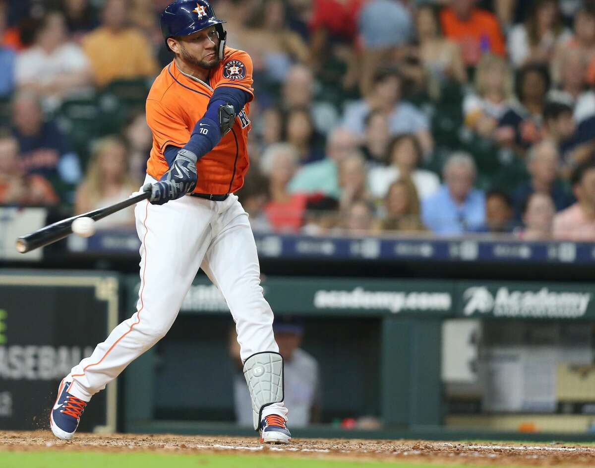 Houston Astros first baseman Yuli Gurriel (10) fouls the ball in the eighth inning against the Texas Rangers at Minute Maid Park on Friday, July 27, 2018 in Houston. Rangers won the game 11-2.