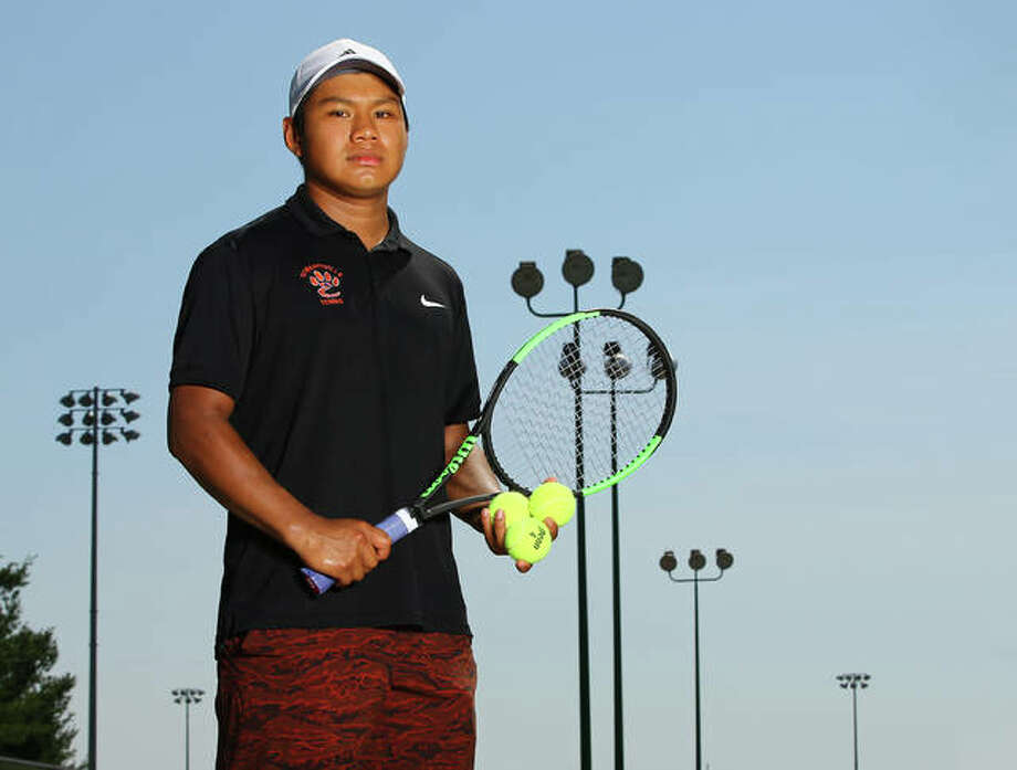 Edwardsville's Zach Trimpe is the 2018 Telegraph Boys Tennis Player of the Year as a junior after placing seventh in singles at the Class 2A state tournament. A doubles state champion as a sophomore, Trimpe enters his senior season with a career record of 138-26, including a school-record 17 state victories. Photo:     Billy Hurst / For The Telegraph