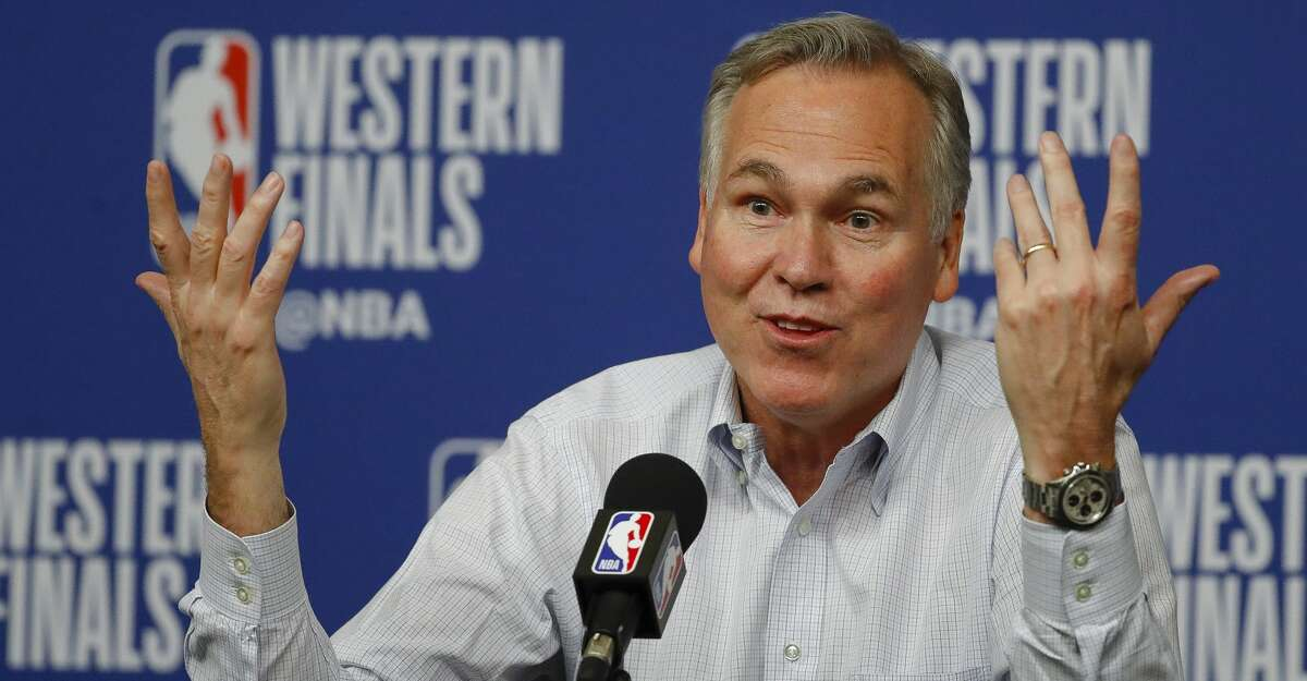 Houston Rockets head coach Mike D'Antoni talks to members of the media after losing to the Golden State Warriors 101-92 in Game 7 of an NBA Western Conference Finals at Toyota Center Monday, May 28, 2018, in Houston. ( Karen Warren / Houston Chronicle )