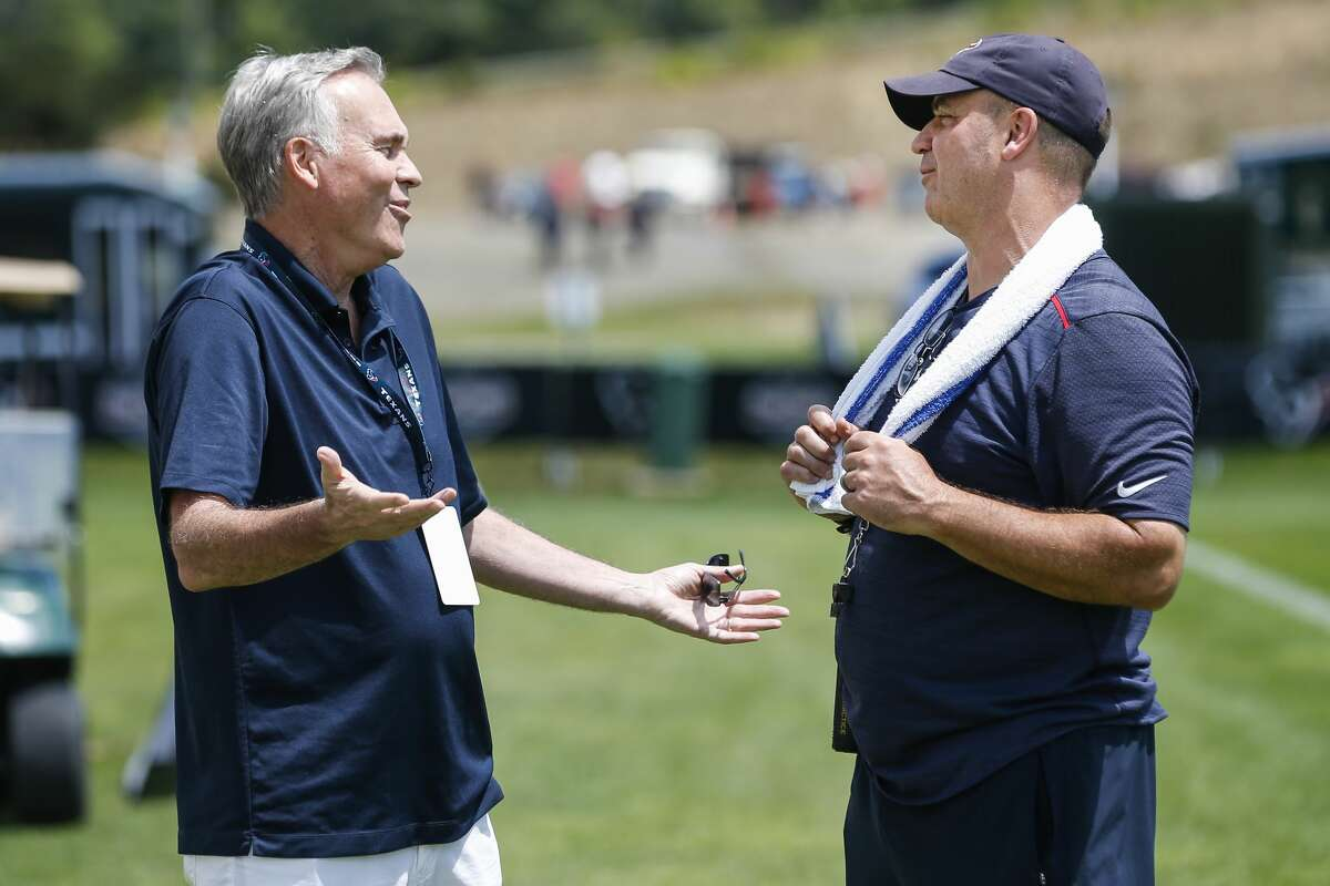 Houston Rockets head coach Mike D'Antoni, left, talks to Houston Texans head coach Bill O'Brien following Texans practice during training camp at the Greenbrier Sports Performance Center on Saturday, July 28, 2018, in White Sulphur Springs, W.Va.