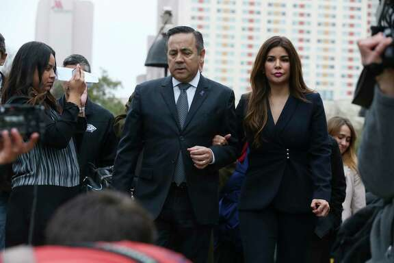 Federal prosecutors are opposing a request by felon and former state Sen. Carlos Uresti to start receiving his state pension. They say Uresti and his estranged wife, Lleanna, are trying to retain control of assets that belong to the victims of a Ponzi scheme he had a role in. The Urestis are seen leaving the San Antonio federal courthouse in February following his conviction on 11 felony charges. He was sentenced to 12 years in prison and ordered to pay his victims $6.3 million.