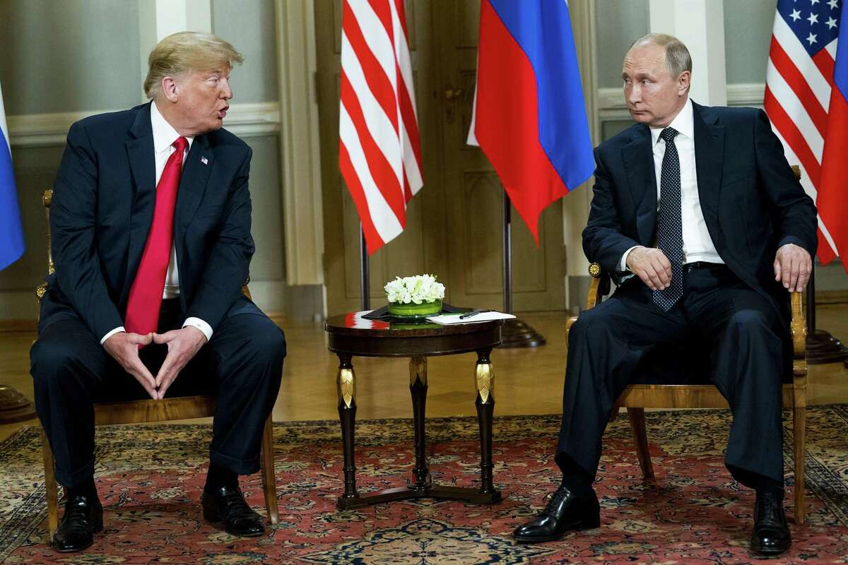 President Donald Trump meets with President Vladimir Putin of Russia at the the presidential palace in Helsinki, July 16, 2018. Trump's meeting with Putin spawned national outrage and uncertainty regarding the president's loyalty. (Doug Mills/The New York Times)