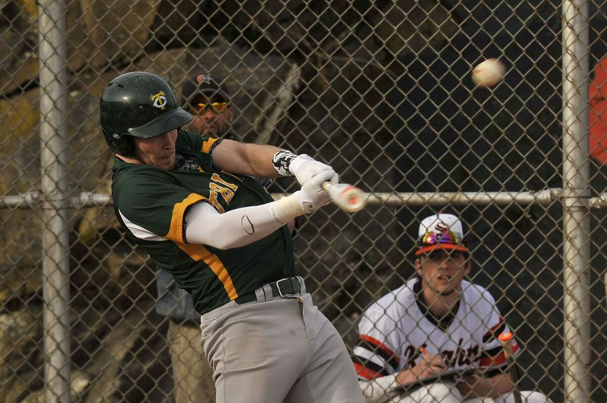Trinity Catholic's Thomas Costigan connects with the ball during the Crusaders a game against Stamford at in 2015.