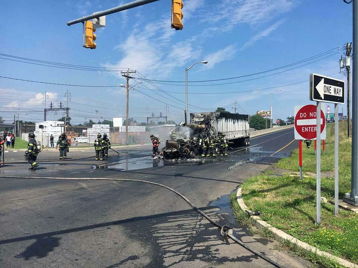 Bridgeport, Conn., firefighters extinguished a tractor trailer on fire on July 27, 2018.