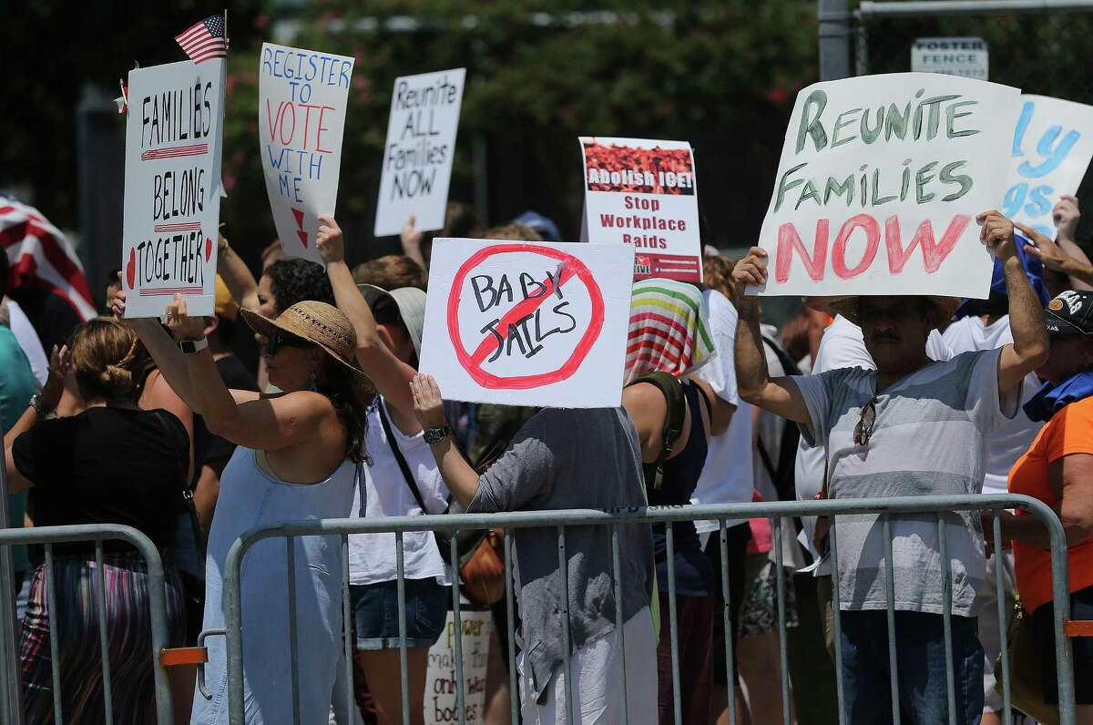 Marchers line up on the corner of Emancipation Avenue and Navigation Street on Saturday, July 28, 2018 in Houston.