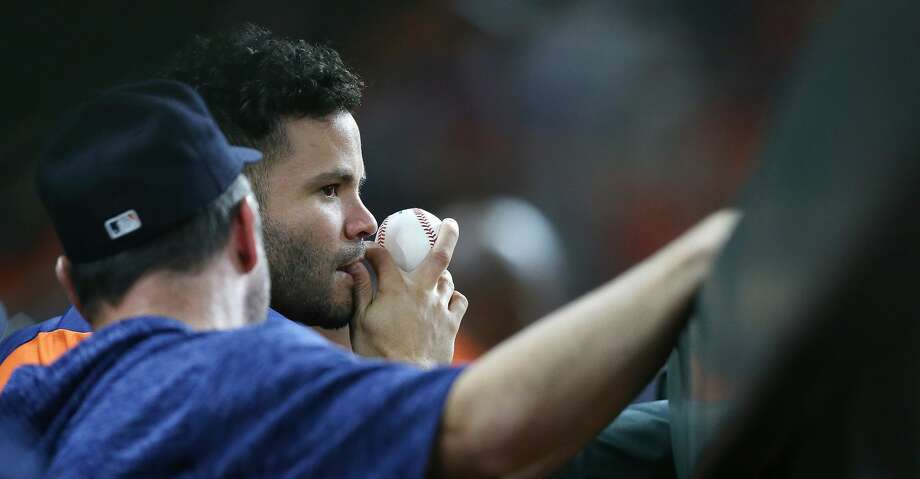 PHOTOS: Astros game-by-game Houston Astros second baseman Jose Altuve (27) watches the Astros take on the Texas Rangers from the dugout  at Minute Maid Park on Friday, July 27, 2018 in Houston. Rangers won the game 11-2. Browse through the photos to see how the Astros have fared through each game this season. Photo: Elizabeth Conley/Houston Chronicle
