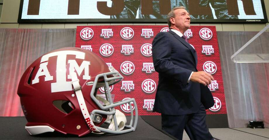 Texas A&M head coach Jimbo Fisher arrives for his SEC Media Days press conference at the College Football Hall of Fame on Monday, July 16, 2018 in Atlanta, Ga. (Curtis Compton/Atlanta Journal-Constitution/TNS) Photo: Curtis Compton/TNS