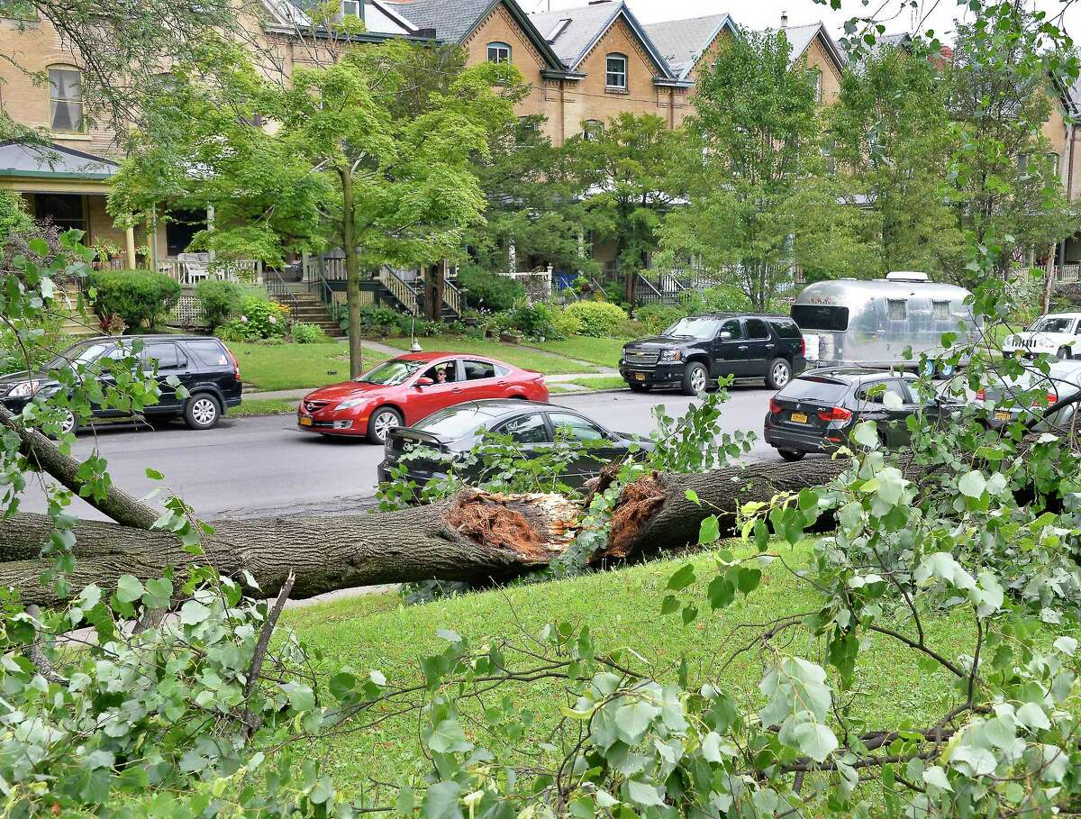 The Capital Region and eastern Mohawk Valley should brace for powerful wind and power outages Friday afternoon. The storm blowing in could level trees and bring down power lines, the National Weather Service says. In this photography, atree was split by a July 28, 2018 storm that hit Albany and the surrounding area. (John Carl D'Annibale/Times Union)