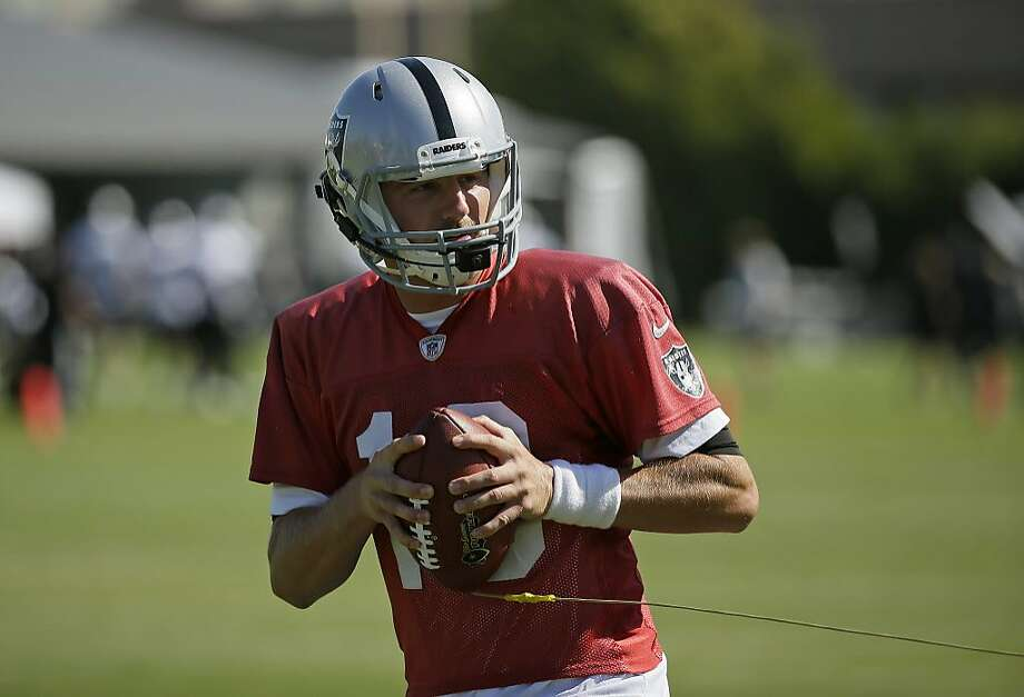 Oakland Raiders quarterback Connor Cook during NFL football practice in Napa, Calif., Friday, July 27, 2018. (AP Photo/Eric Risberg) Photo: Eric Risberg / Associated Press