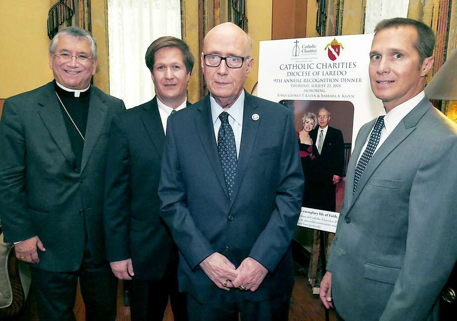 Laredo's federal courthouse will be renamed for retired U.S. District Judge George P. Kazen, third from left, after President Donald Trump approved the name change Friday. Photo: Cuate Santos /Laredo Morning Times / Laredo Morning Times