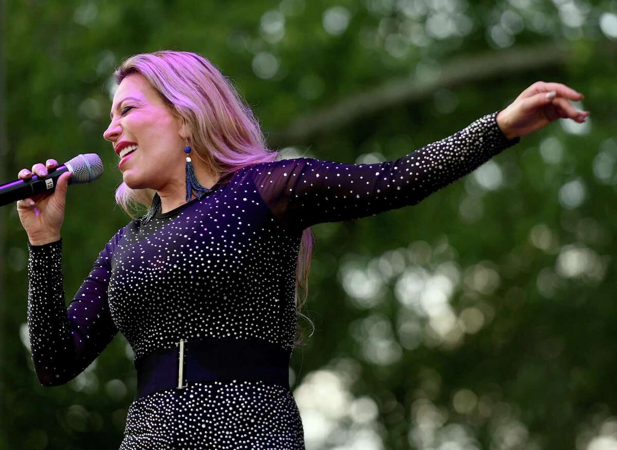 Taylor Dayne performs in a free concert on the New Haven Green on July 28, 2018.