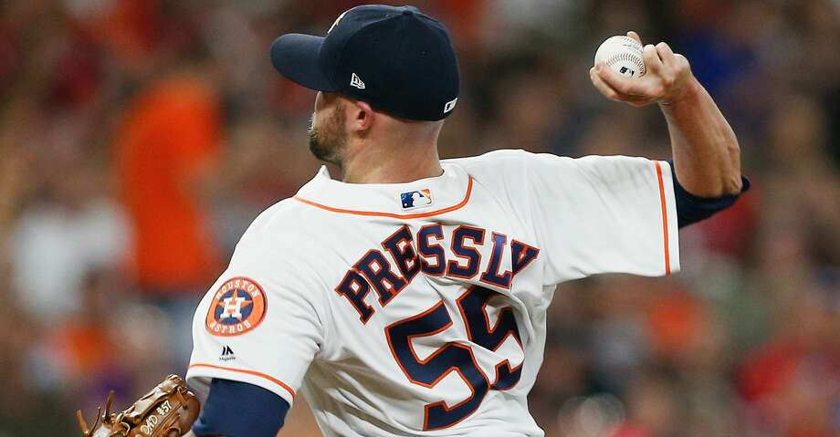 HOUSTON, TX - JULY 28:  Ryan Pressly #55 of the Houston Astros pitches in the seventh inning against the Texas Rangers at Minute Maid Park on July 28, 2018 in Houston, Texas.  (Photo by Bob Levey/Getty Images) Photo: Bob Levey/Getty Images