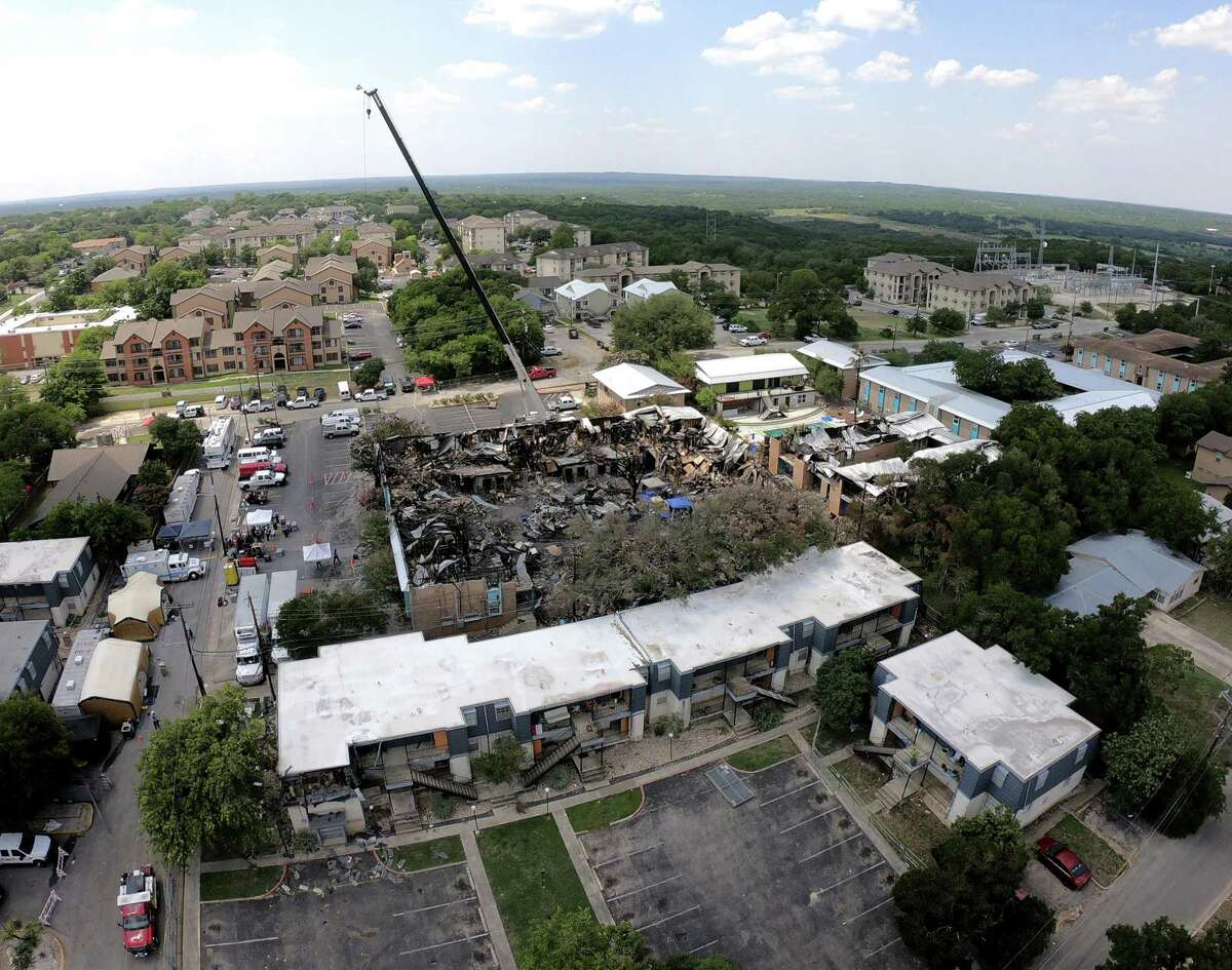 Aerial photograph of the fire scene on July 24, 2018, four days after blaze at Iconic Village Apartments in San Marcos. Five people died in the fire.