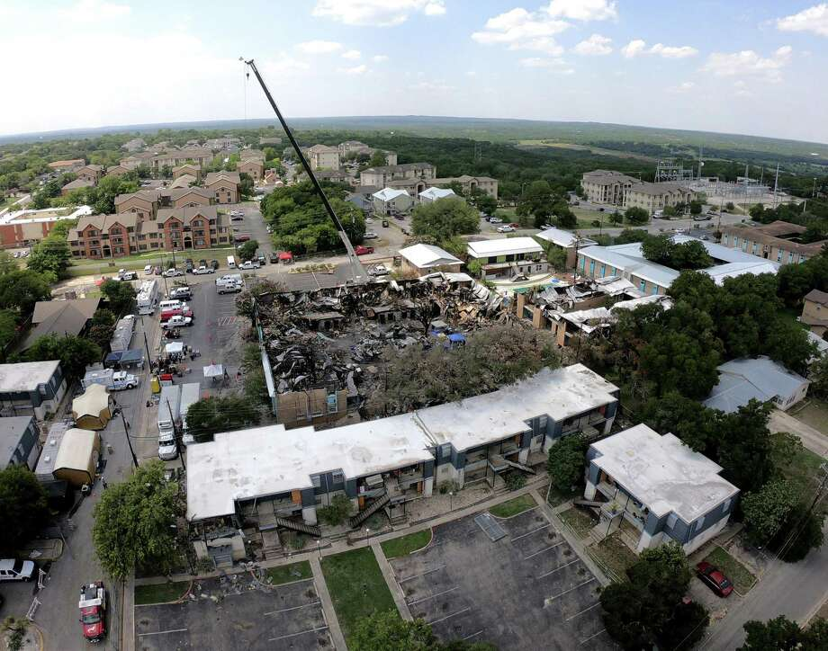 Aerial photograph of the fire scene on July 24, 2018, four days after blaze at Iconic Village Apartments in San Marcos. Five people died in the fire. A UHfire marshal urged parents to check on whether the dorms and apartments they drop their college students off at are safe from potential fire dangers.    Photo: Billy Calzada /Staff Photographer / San Antonio Express-News