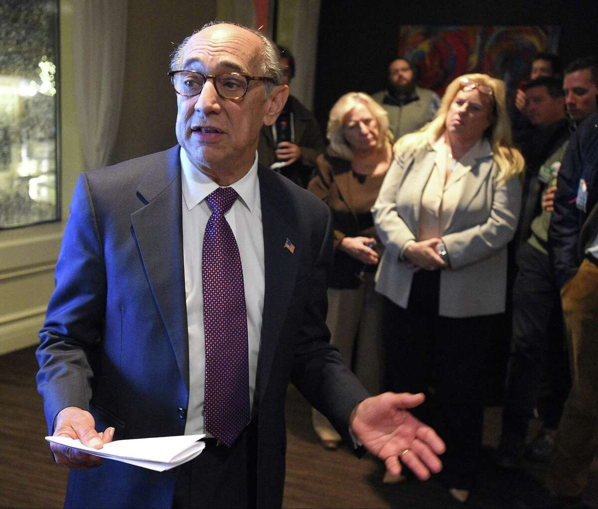 FILE - Republican mayoral candidate Barry Michelson addresses supporters gathered at Quattro Pazzi in Stamford, Connecticut on Tuesday, Nov. 7, 2017. Michelson conceded to Democratic challenger Mayor David Martin.