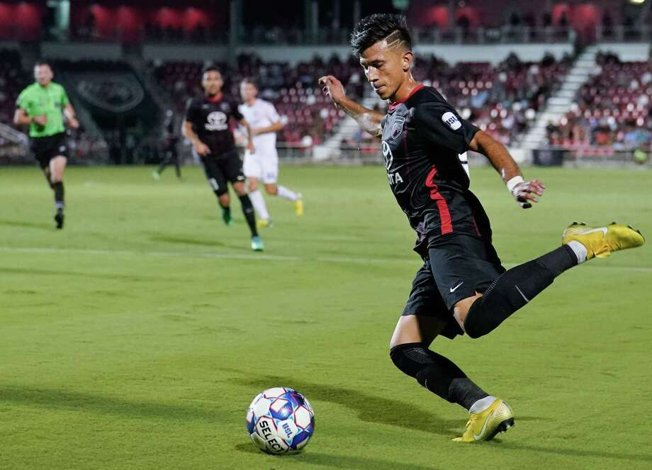 San Antonio FC's Mikey Lopez converted a penalty kick to spark a late second-half charge that lifted the local club past Oklahoma City Energy FC. Photo: Darren Abate /USL / / Darren Abate Media LLC