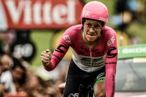 USA's Lawson Craddock crosses the finish line of the 20th stage of the 105th edition of the Tour de France cycling race, a 31-kilometer individual time-trial between Saint-Pee-sur-Nivelle and Espelette, southwestern France, on July 28, 2018. / AFP PHOTO / Philippe LOPEZPHILIPPE LOPEZ/AFP/Getty Images