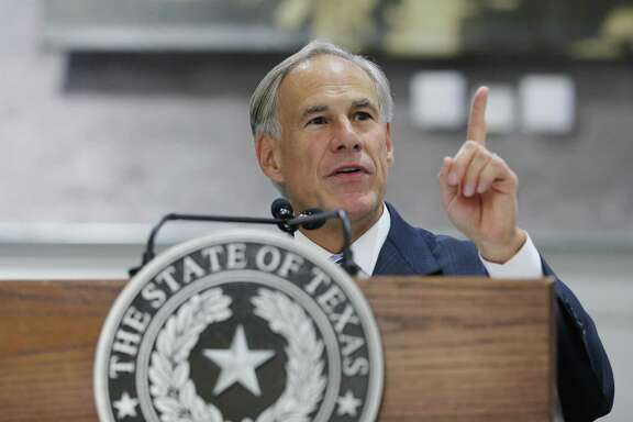Texas Gov. Greg Abbott, seen on July 19, 2018, in Houston, has endorsed Pete Flores to replace Carlos Uresti in the Texas Senate.