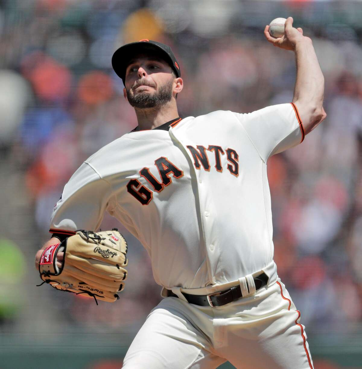 Andrew Suarez (59) pitches in the second inning as the San Francisco Giants played the Milwaukee Brewers at AT&T Park in San Francisco, Calif., on Sunday, July 29, 2018.