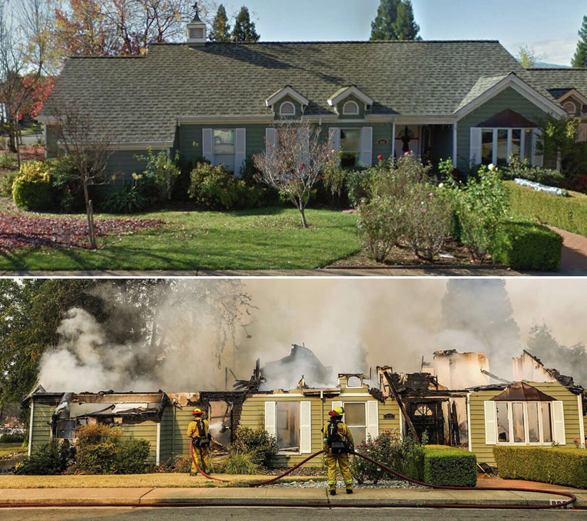 A Redding home is seen in a Google Map street view prior to the Carr fire and after, as firefighters work on the burning home and others on Sunriver Lane in Redding, Calif.