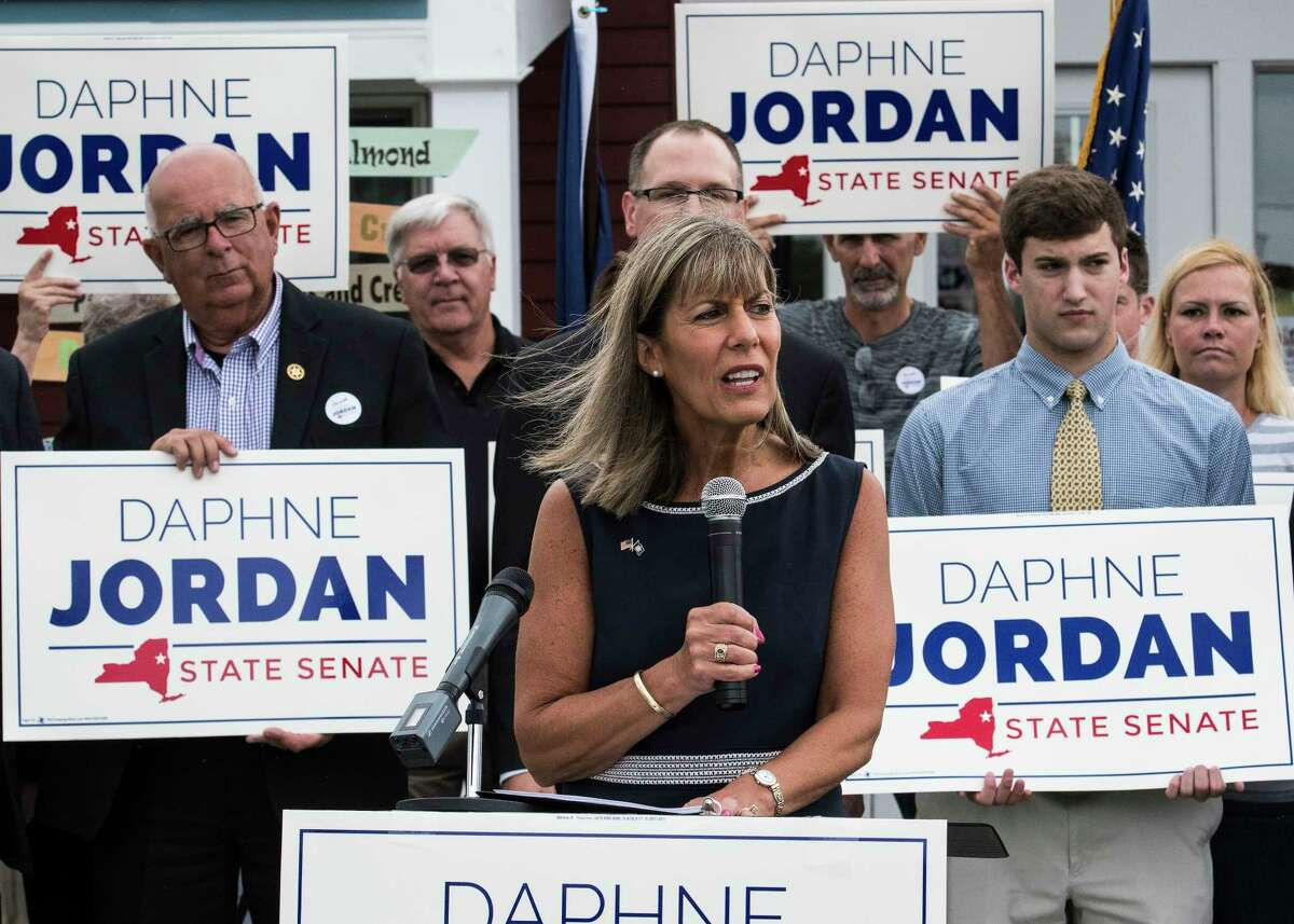 Daphne Jordan announced her intention to run for Senator Kathy Marchiones' seat in the State Senate Thursday July 26, 2018 at Hayner's Food and Ice-cream shop in Halfmoon, N.Y. (Skip Dickstein/Times Union)