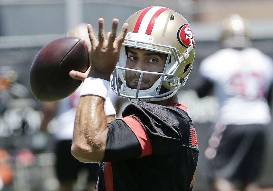 7ca29b2a9 San Francisco 49ers quarterback Jimmy Garoppolo throws a pass during NFL  football practice at the team s