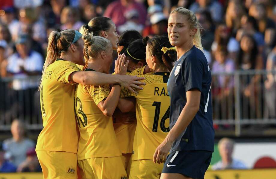 U.S. player Abby Dahlkemper reacts after Australia scored in the first half at Rentschler Field on Sunday. Photo: Timothy A. Clary / Getty Images / AFP or licensors