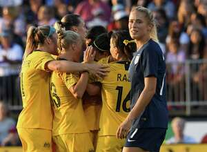 U.S. player Abby Dahlkemper reacts after Australia scored in the first half at Rentschler Field on Sunday.