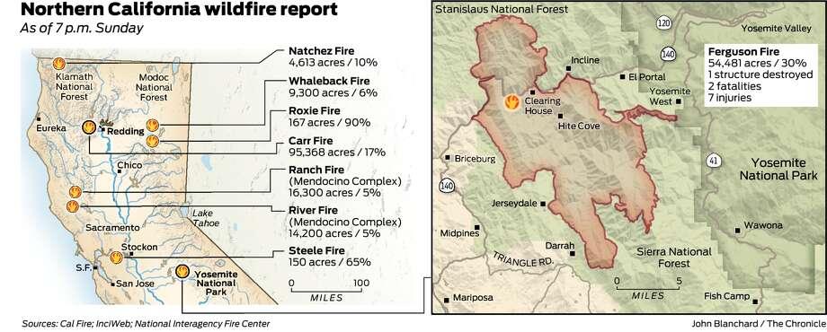 Ferguson Fire California Map.Firefighter Killed Near Yosemite As Blazes Roar Through California