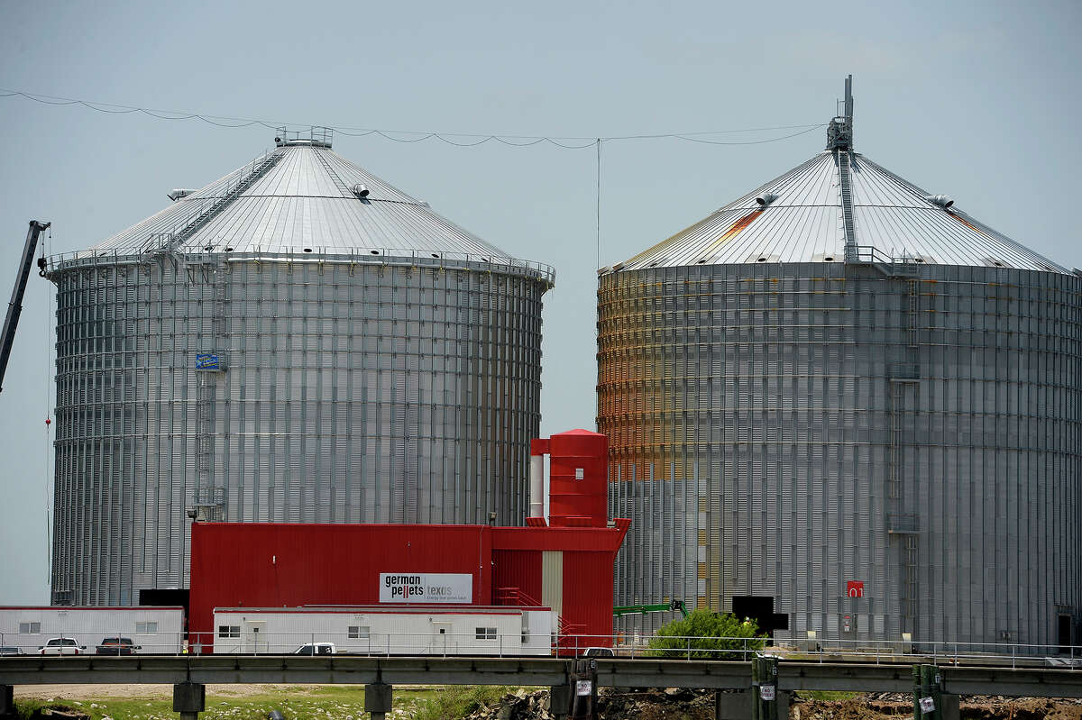 A new silo has been constructed at the German Pellets wood pellet silo along the Neches River in Port Arthur. One of the silos collapsed during a fire that smoldered for months in spring 2017. Photo taken Wednesday 7/18/18 Ryan Pelham/The Enterprise
