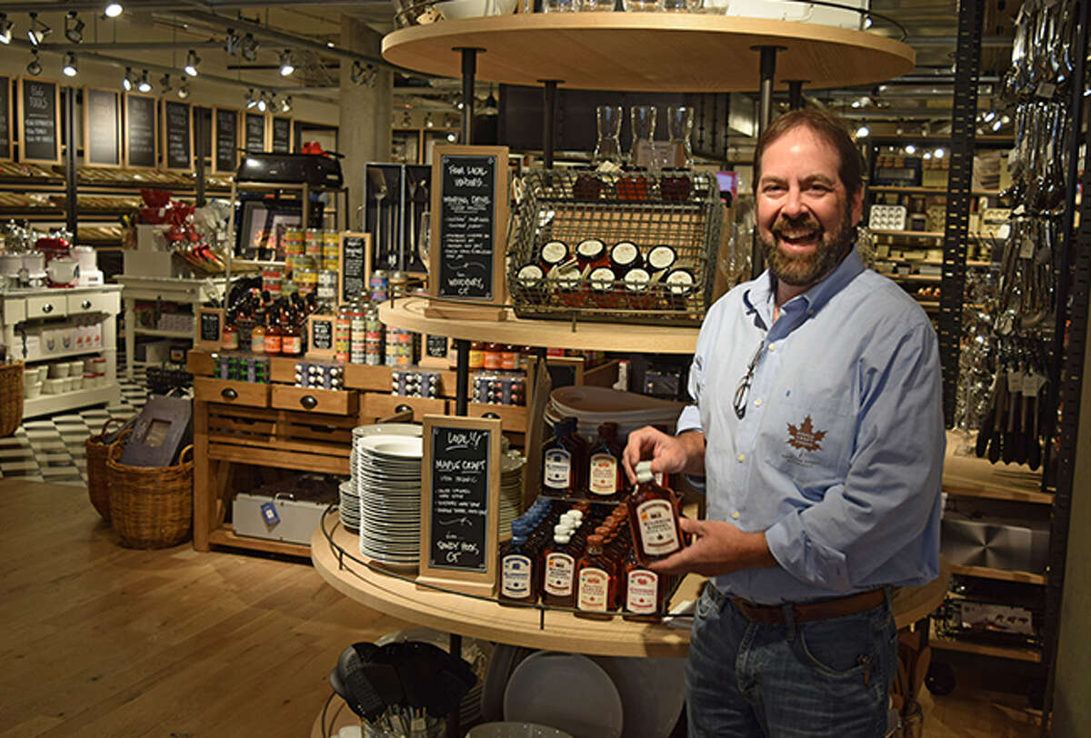 Dave Ackert, founder of Maple Craft Foods, at the Williams-Sonoma store in Westport.