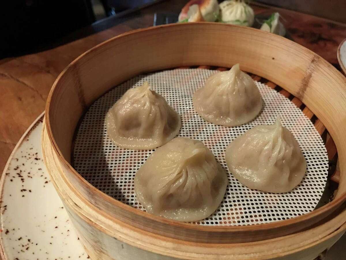 Pork soup dumplings at IIzakaya restaurant, 318 Bagby in Midtown.