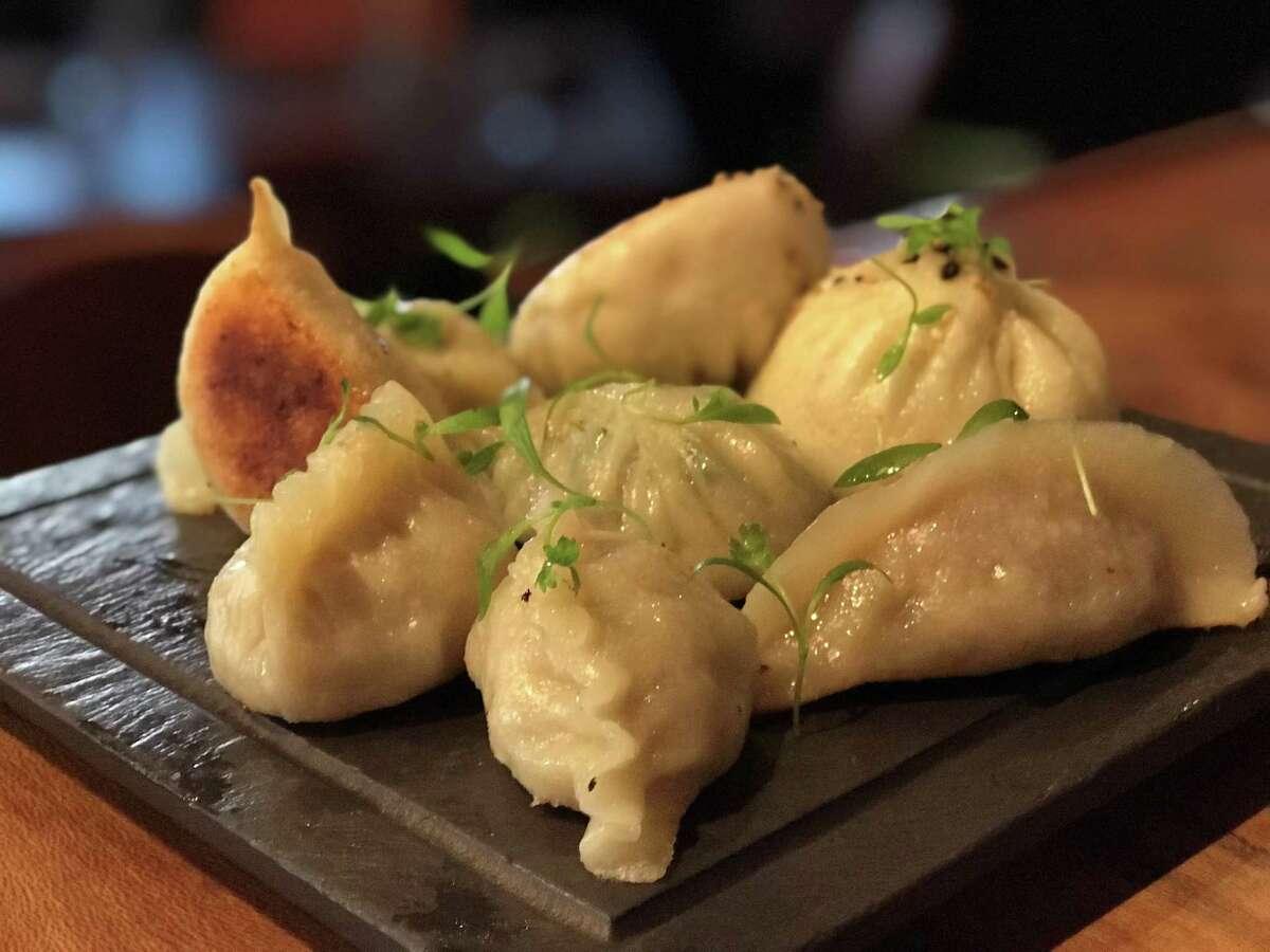 Assorted pan-fried dumplings at IIzakaya restaurant, 318 Bagby in Midtown.