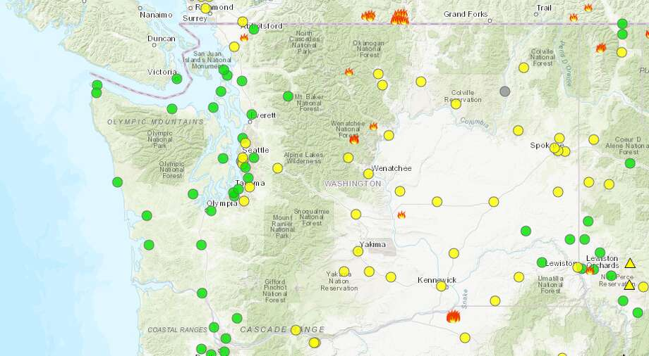 The air quality across Washington state as of Monday, July 30, 2018. Photo: Washington Department Of Ecology