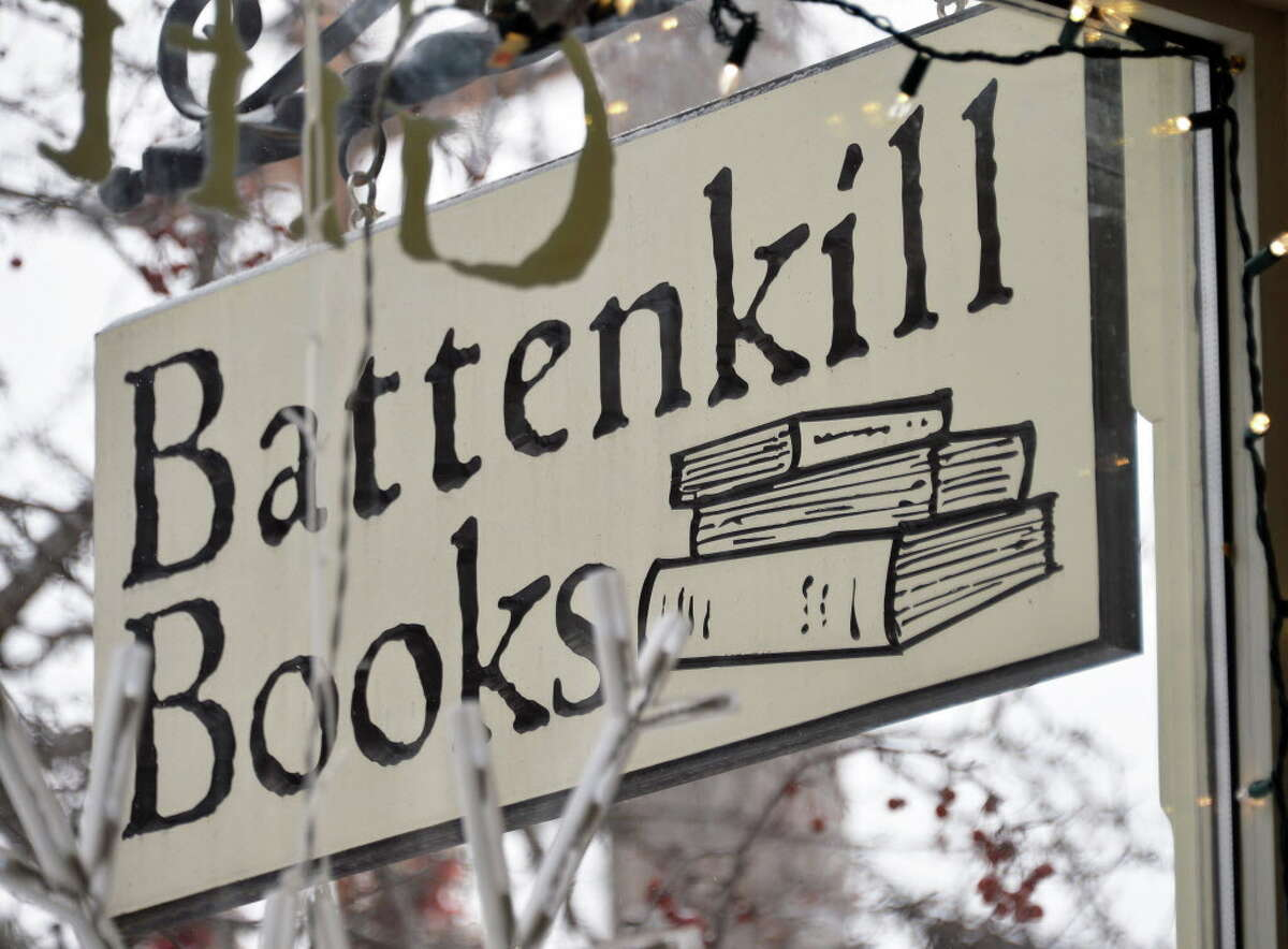 Sign outside Battenkill Books Tuesday Jan. 6, 2015, in Cambridge, NY. Owner Connie Brooks recently got a grant from author James Patterson to expand her independent bookstore. (John Carl D'Annibale / Times Union)