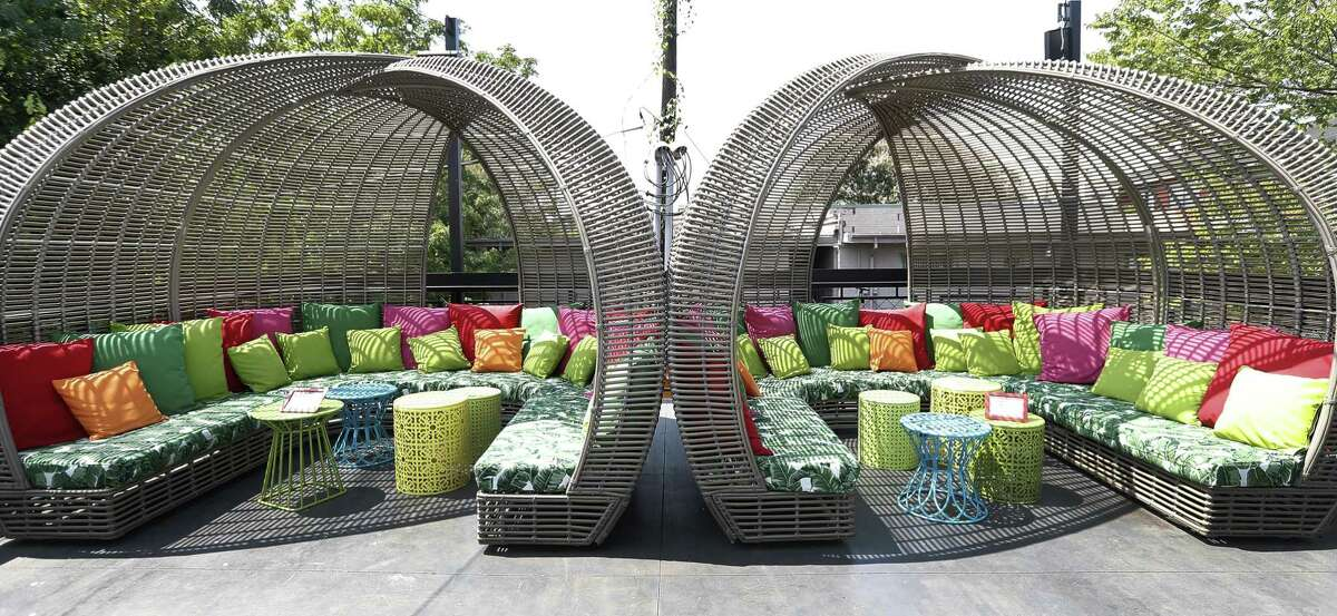 Cabanas on the second floor patio at Present Company