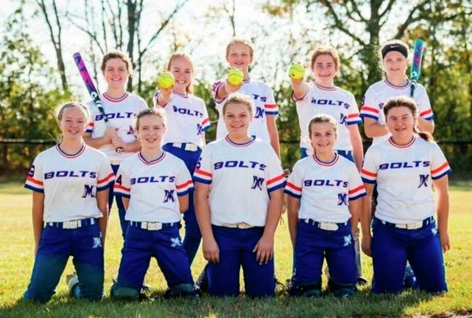 The Michigan Bolts 12U softball team includes (front row, from left) Jerzie VanOchten, Kortney Kotenko, Olivia Jatczak, Laney Kokaly, Josie Killey; (back row, from left) Payton Dueweke, Delaney Conley, Isabel Jones, Brooklyn Compau and Morgan Williams. Not pictured are head coach Jen Hammad and assistant coaches Chris Kokaly and Dave Compau.