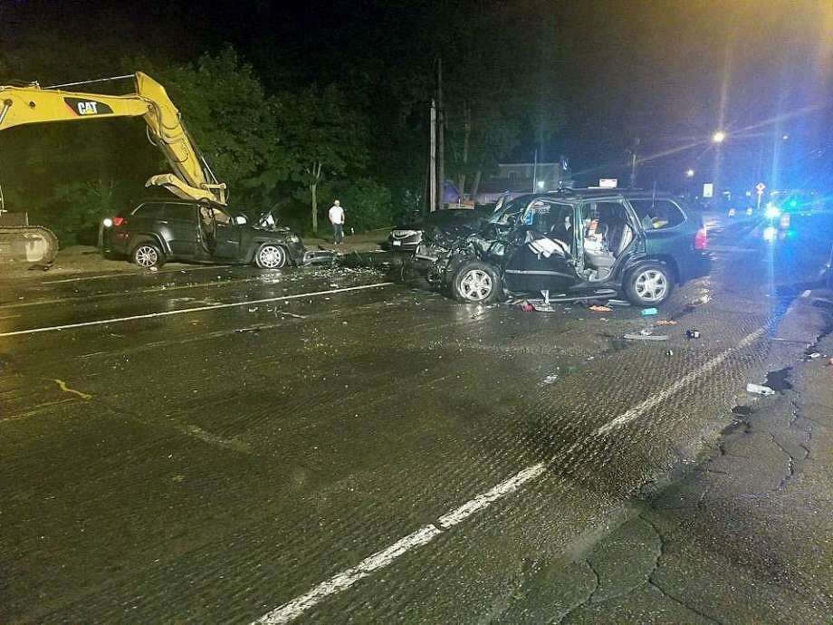 Two large sport utility vehicles collided around 11:45 p.m. on July 27, 2018, at the intersection of Newtown Road and Old Shelter Rock Road in Danbury. Photo: / Contributed
