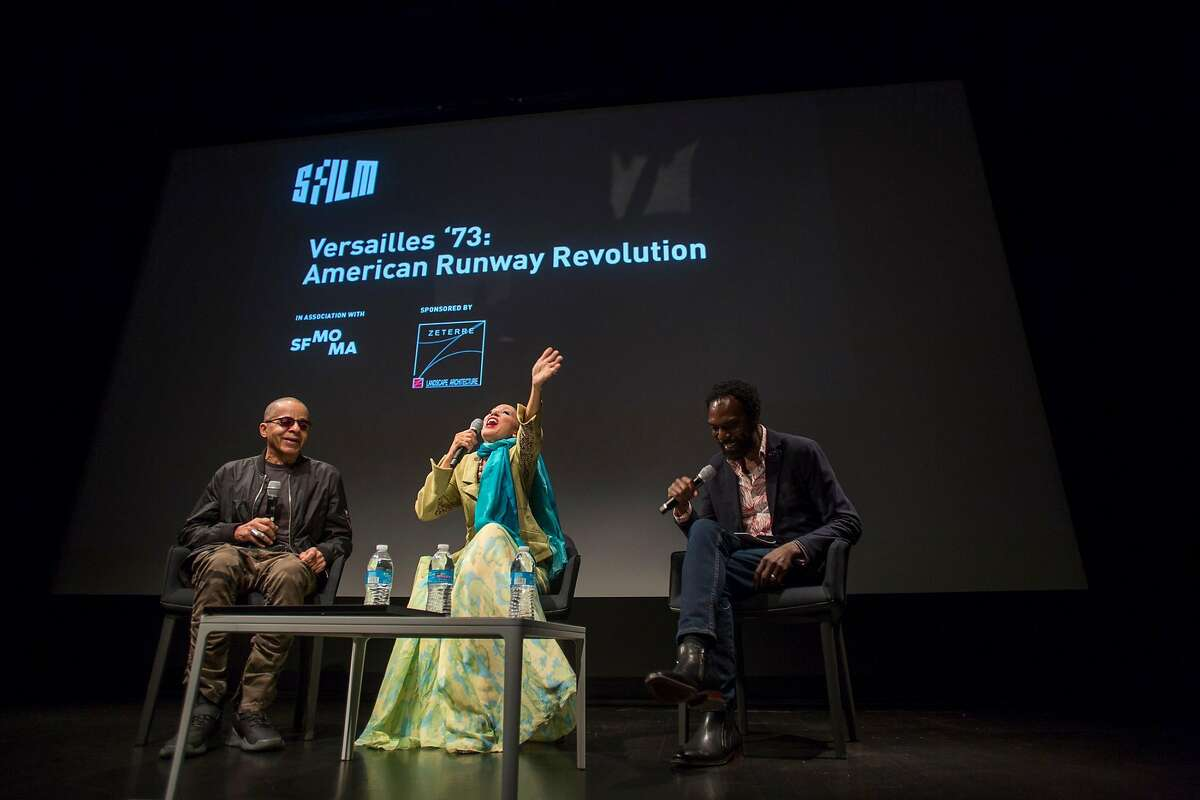 """Fashion designer Stephen Burrows, model Pat Cleveland and fashion designer Kevan Hall in conversation after a SFFILM screening of """"Versailles '73: Runway Revolution"""" at SFMOMA."""