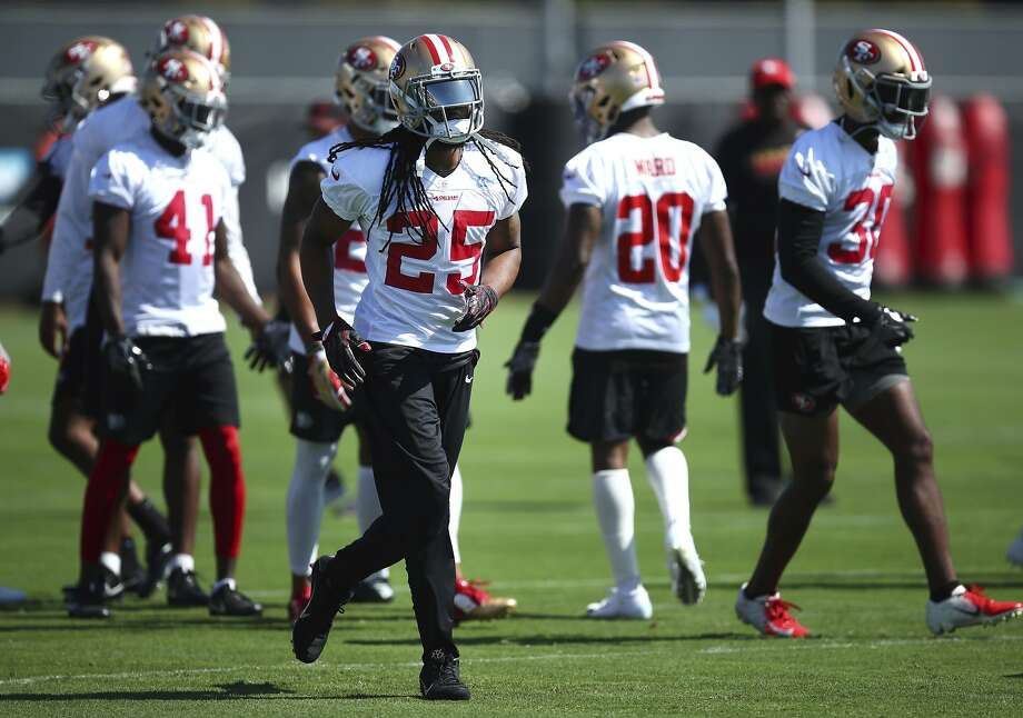 San Francisco 49ers' Richard Sherman (25) runs during NFL football practice at the team's headquarters Thursday, July 26, 2018, in Santa Clara, Calif. Photo: Ben Margot / Associated Press