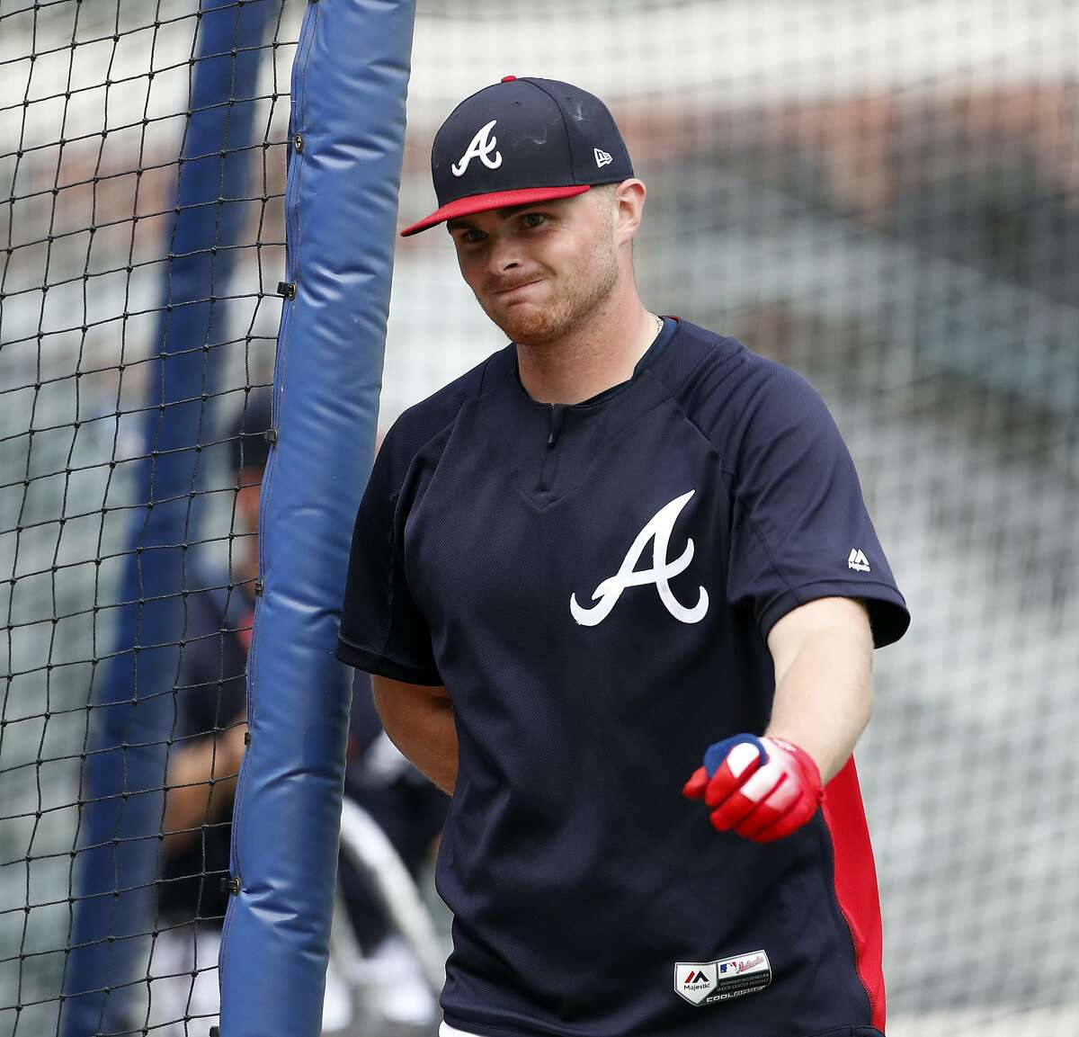 Atlanta Braves starting pitcher Sean Newcomb (15) is shown during batting practice before of a baseball game against the Miami Marlins Monday, July 30, 2018 in Atlanta. Newcomb apologized Sunday for racist, homophobic and sexist tweets he sent as a teenager, calling them