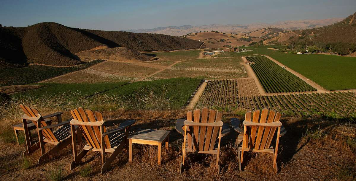 A hilltop offers panoramic views of the acres of vineyards that cover the property at Eden Rift Vineyards on Thursday, 7/26, 2018, in Hollister, California. Eden Rift Vineyards is a historic property in Hollister that has been revived by a new owner.