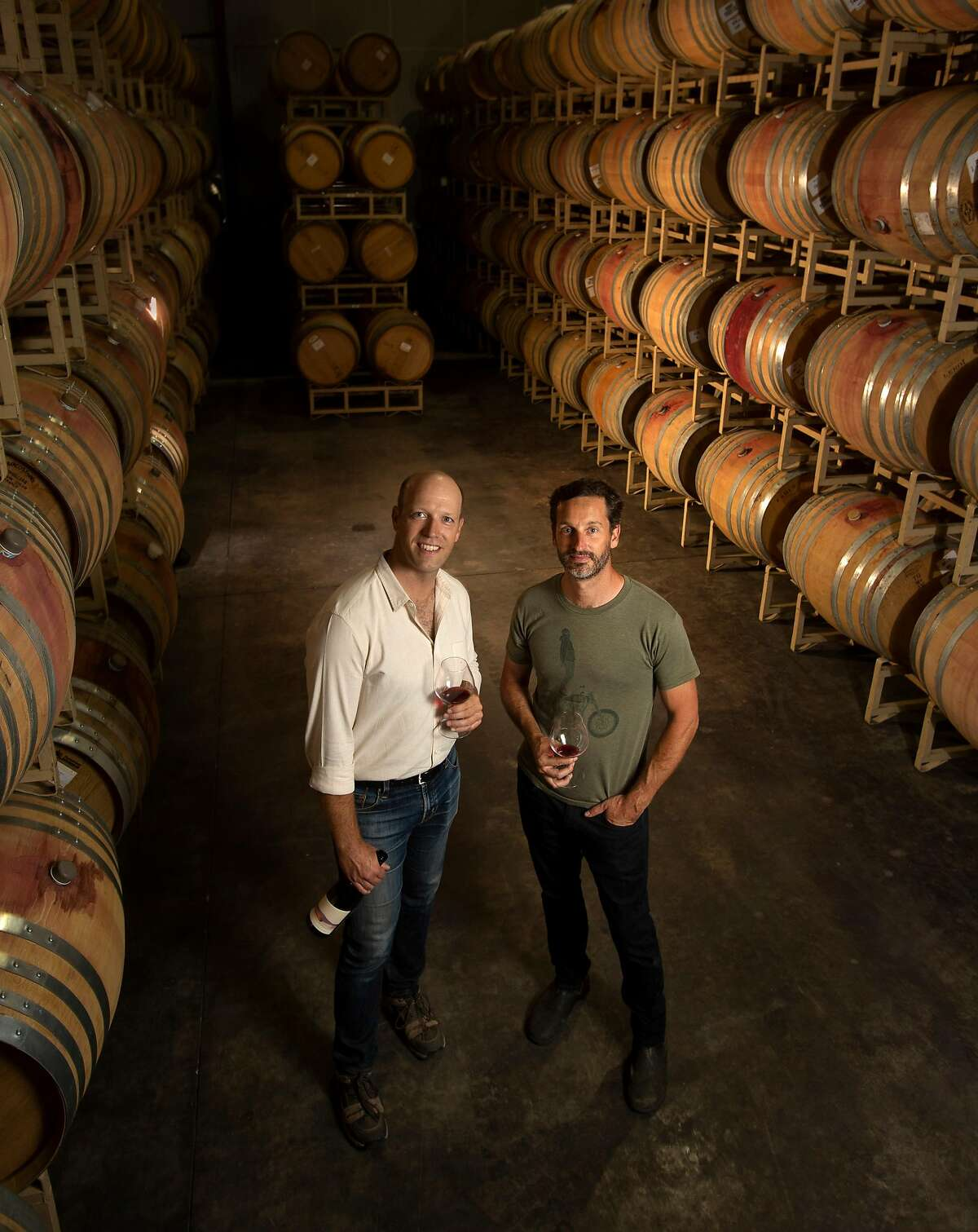 Winery owner Christian Pillsbury, left, and winemaker Cory Waller photographed at Eden Rift Vineyards on Thursday, 7/26, 2018, in Hollister, California. Eden Rift Vineyards is a historic property in Hollister that has been revived by a new owner.