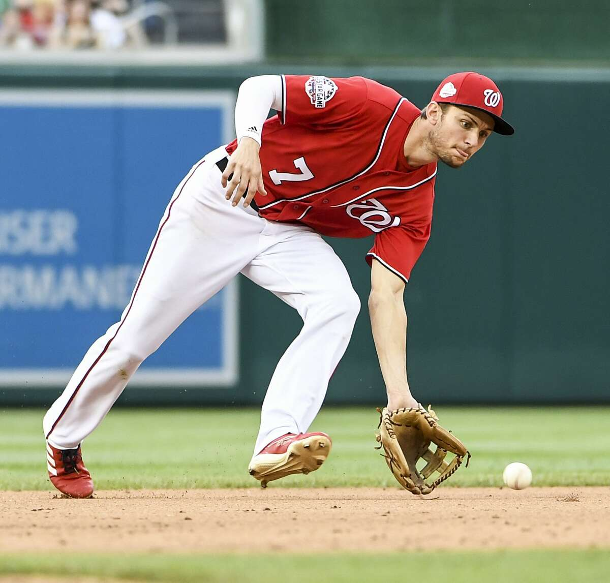 Racially insensitive and homophobic tweets from 2011 and 2012 attributed to Nationals shortstop Trea Turner surfaced Sunday evening. MUST CREDIT: Washington Post photo by Jonathan Newton