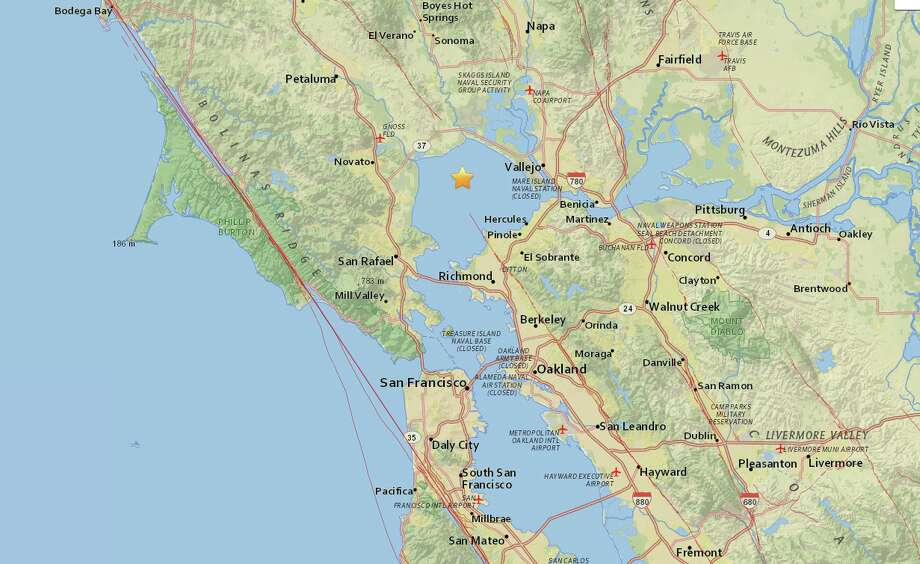 A 3.6-magnitude earthquake struck the Bay Area Monday afternoon. Photo: Courtesy USGS
